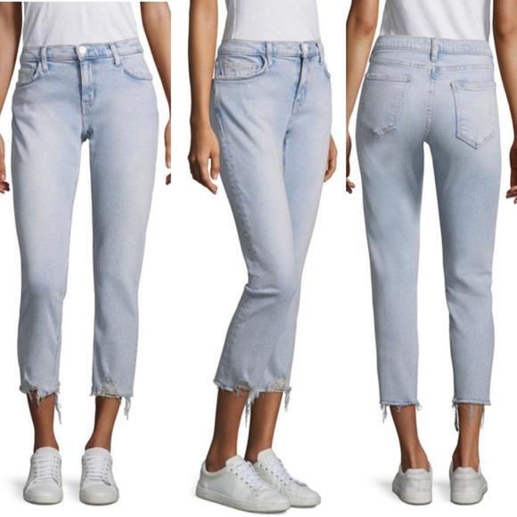 Current/Elliott Denim - Current Elliott Light Wash Raw Hem Crop Jeans 30